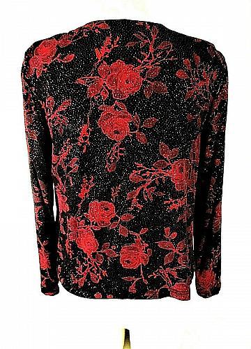 JS Edward womens Medium L/S black RED GLITTER 2 piece top jacket LINED set (R)PM