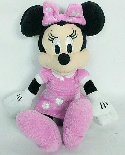 Disney Minnie Mouse Just Play Pink White Polka Dot Plush Stuffed Animal 10""