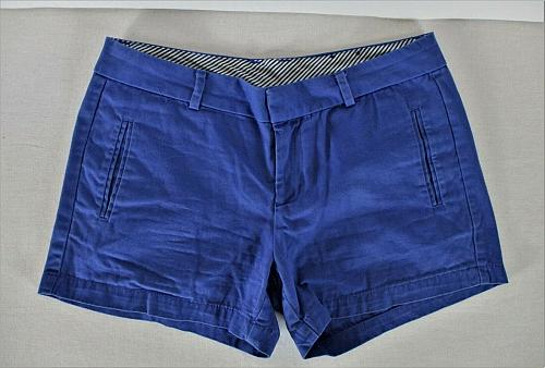 STYLUS womens Sz 4 W30 blue KHAKI cotton eyelet zip up shorts (B6)P