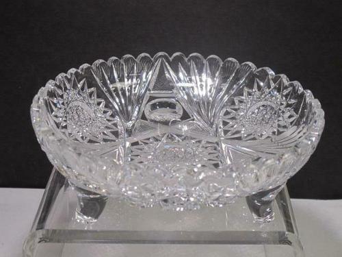 ABP cut glass 3 legged bowl bowl American brilliant