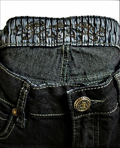 PAPAYA womens Sz 3 W26 L31 black denim PLEATED front STRETCH jeans (B5)P