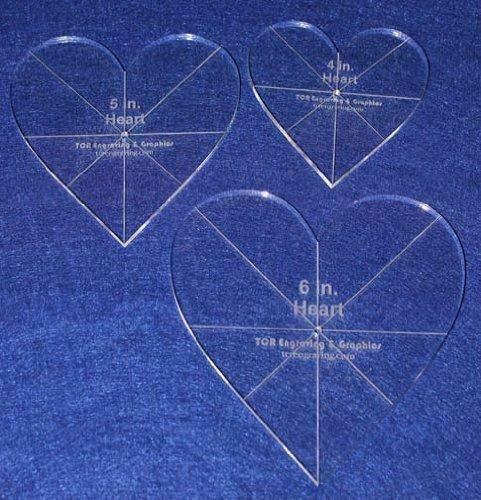 """Heart Template 3 Piece Set. 4"""",5"""",6"""" - Clear 1/4"""" Thick w/ guidelines"""