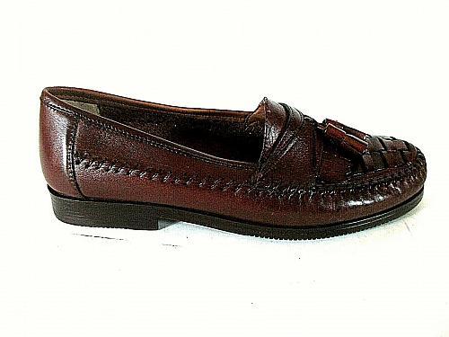 Giorgio Brutini Brown Woven Leather Kilt Tassels Loafer Dress Shoes Men 8 D (SM5