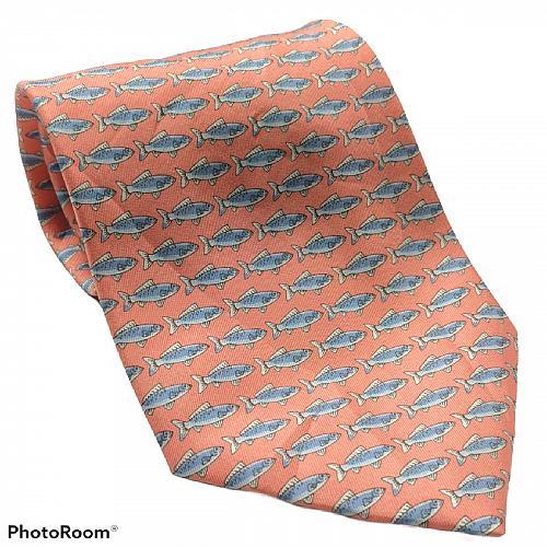 Grant Thomas Fish Print Ocean Coral Blue Novelty Silk Necktie