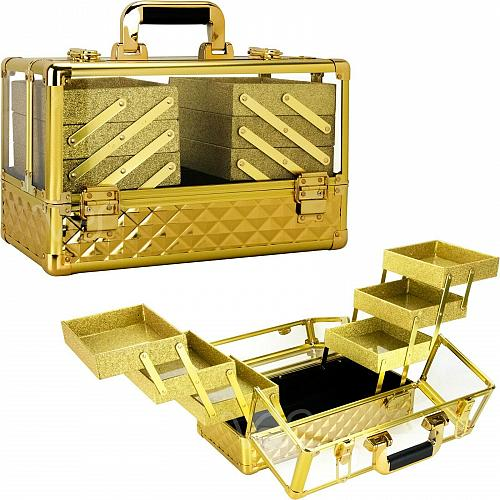 Lockable Storage Travel Aluminum Makeup Cosmetic Beauty Organizer Train Case