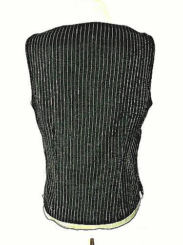 Spenser Jeremy womens Large sleeveless black GOLD METALLIC sequins SILK top B6)P
