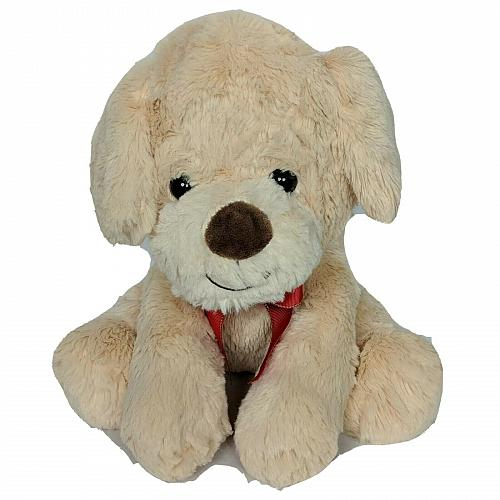 "Walgreens Christmas Tan Puppy Dog Plush with Bow Stuffed Animal 11"""