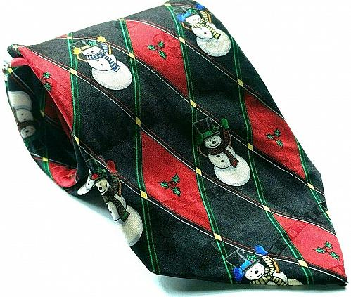 Hallmark Yuletide Greetings Christmas Holiday Snowman Silk Necktie