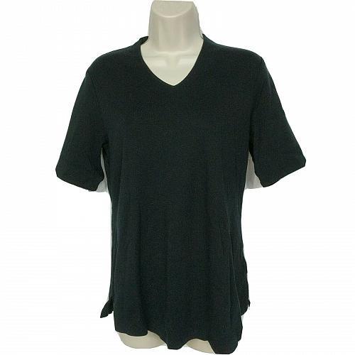 Isaac Mizrahi Live! Essentials V-Neck Elbow Sleeve Tunic Small Solid Black