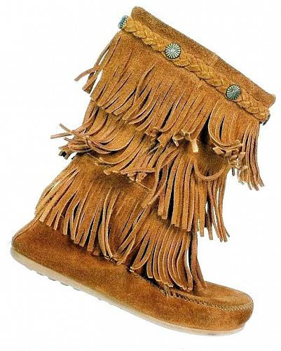 Minnetonka Women's 3 Layer Fringe Brown Suede Moccasin Boots Size 4