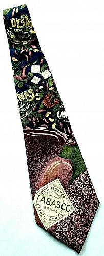 Tabasco Hot Sauce Oysters Crawdads Garlic Food Peppers Novelty 100% Silk Tie