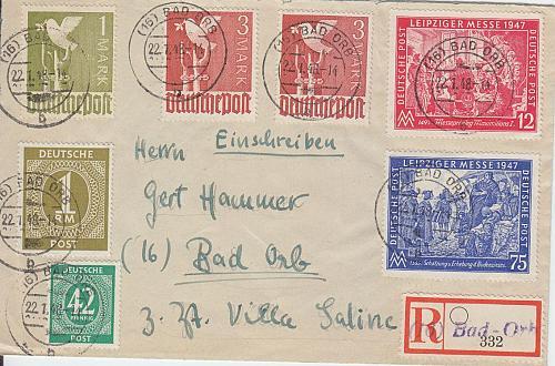 GERMANY Alliiert Gemeinschaft [1947] MiNr 0965-66 ( Brief ) [01] und 2x 0951, 1x 0930