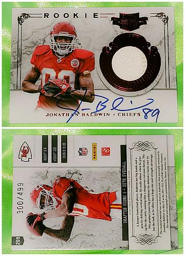NFL Jonathan Baldwin Chiefs Autographed 2011 Panini Plates & Patches Relic /499