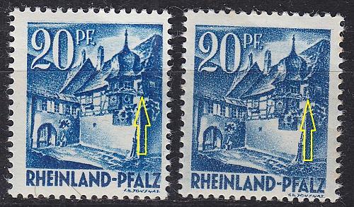 GERMANY Alliiert Franz. Zone [RheinlPfalz] MiNr 0007 yv a,b I ( **/mnh ) [01]