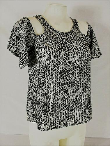 CHARLOTTE RUSSE womens Small black white COLD SHOULDER keyhole back top (Z)