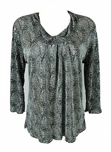 CHRISTOPHER & BANKS womens Medium 3/4 sleeve black gray SEQUINED stretch top (R)