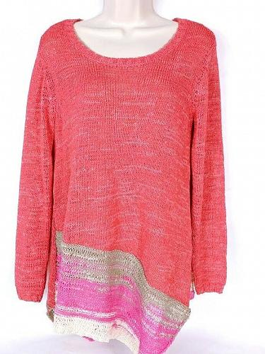Soft Surroundings Women's Sweater PS Crew Neck Long Sleeve Salmon Gray