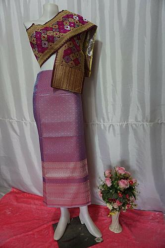 Taffy Pink Thai Lanna Synthetic Silk sinh Skirt Pha Bieng Tailor to your size