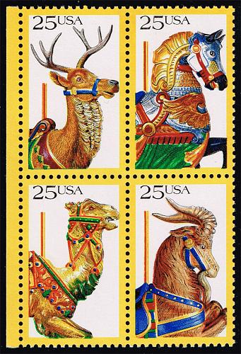 US #2390-2393 Carousel Animals Block of 4; MNH (5Stars) |USA2393a-03XVA