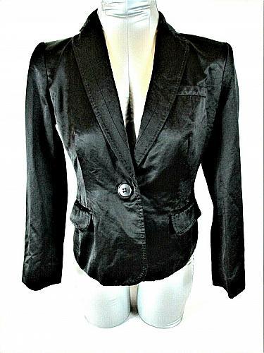 VICTOR ALFARO womens Sz 4P L/S black 1 BUTTON closure shiny lined jacket (B9)