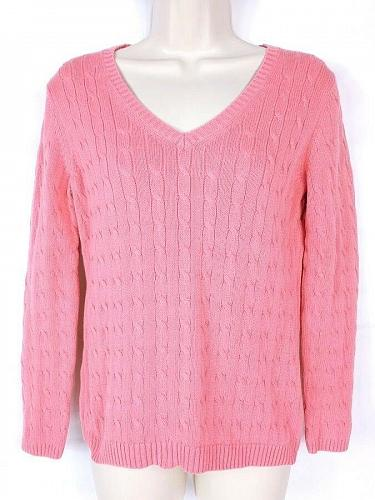 Ann Taylor Loft Womens Petite Crew Neck Sweater Size MP Pink