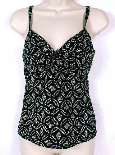 Lands' End Women's Tankini Swimsuit Top Size 4 Geometric Adjustable Straps