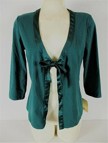 LINDEN HILL womens Medium 3/4 sleeve teal TIE FRONT cardigan top NWT (H)