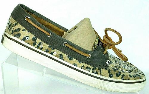 Sperry Top Sider Womens Bahama Skimmer Sequin Leopard Lace Up Boat Shoes 6 M