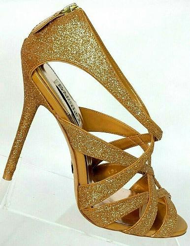 Badgley Mischka Women's Tan Glitter Stiletto Open Toe Heels Size 8.5 M