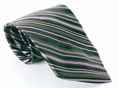 DKNY Men's Dress Necktie 100% Silk Striped Black Gray Purple