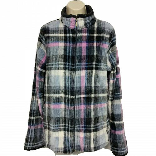 Stan Herman Womens Silky Plush Plaid Zip Lounge Pajama Set Size Medium