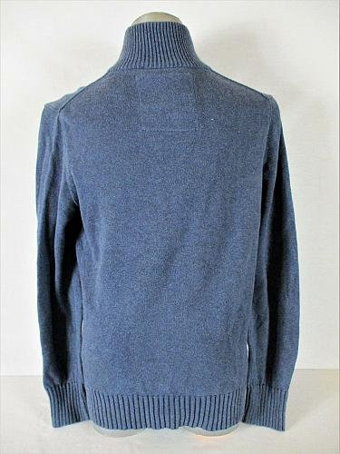 AMERICAN EAGLE mens Large blue 1/4 ZIP w 4 BUTTONS 100% cotton sweater (A7)
