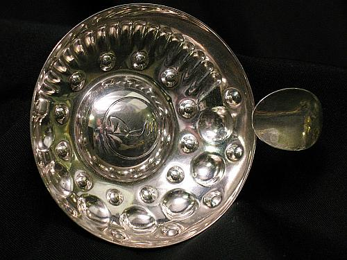 Vintage Silverplated Ashtray DM with Cigarette Holder Art Deco