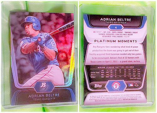 MLB ADRIAN BELTRAN TEXAS RANGERS 2012 BOWMAN PLATINUM REFRACTOR #4 MINT