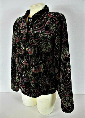 CHRISTOPHER & BANKS womens Medium L/S black green red VELVET button jacket (L)P