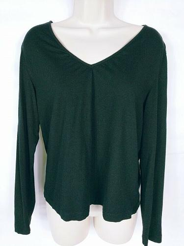 Chicos Women's Blouse Top Size 1 Medium Solid Black Long Sleeve V Neck