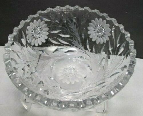 Hand Cut Glass bowl Antique blown blank