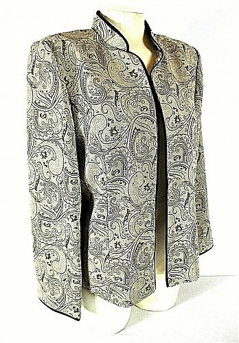 PERCEPTIONS womens Sz 14 L/S taupe PAISLEY PRINT open front jacket (C2)