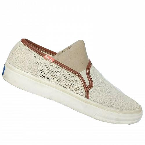 Keds Womens Double Decker Crochet Cream Slip On Espadrille Shoes Size 7.5 M