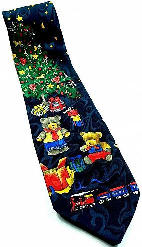 Christmas Tree Teddy Bears Trains Presents Starry Night Novelty Tie