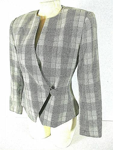 EH WOODS womens Sz 6 L/S brown taupe PLAID 1 button fully LINED jacket (B2)P