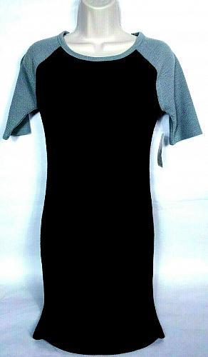 LuLaroe Womens Julia Raglan Bodycon Dress XS Boat Neck Solid Black Gray