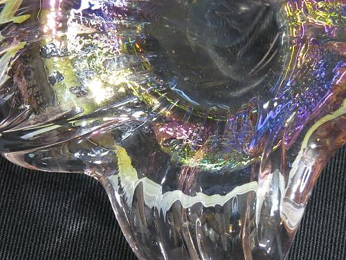 Vintage Iridescent Bud Vase Hand Blown Carnival Glass Style Pink Lily