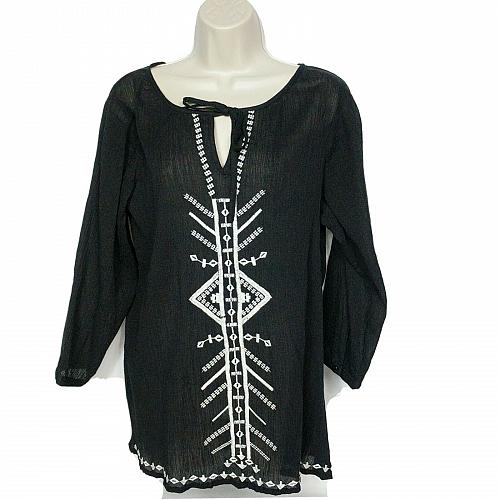 Ann Taylor Loft Keyhole Blouse Top Size Small Black White Geometric Embroidered