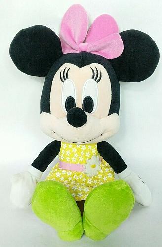 "Disney Minnie Mouse Yellow Floral Plush Stuffed Animal 13"""