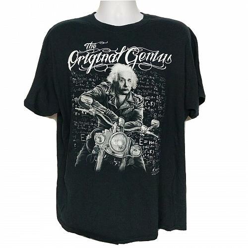 Albert Einstein Motorcycle Original Genius E=MC2 T-Shirt XL Black Short Sleeve