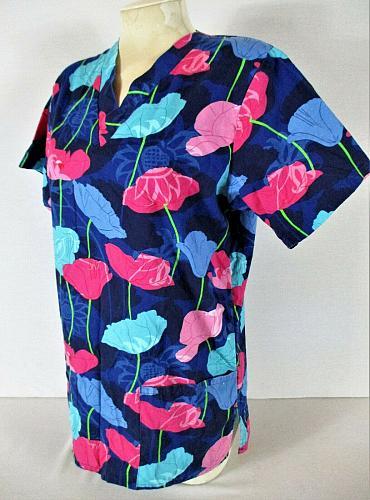 ALLHEART womens Small S/S blue pink FLORAL print scrub top (C)