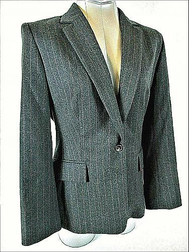 Jaeger womens Sz 10 L/S gray Pink Pinstripe 1 button 100% Wool jacket (B4)P