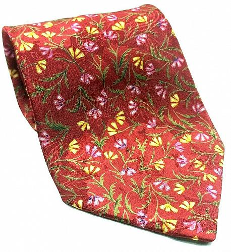 Christian Dior Monsieur Pink Yellow Floral Novelty Tie