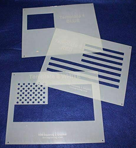 """US Flag """"in 3 parts"""" 8"""" X 10"""" Stencils- Mylar 3 Pieces of 14 Mil Painting /Craft"""